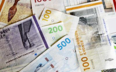 Danske pengesedler i flot formation
