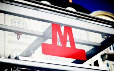 Københavns Metro logo er klassisk layout med stærk rød farve
